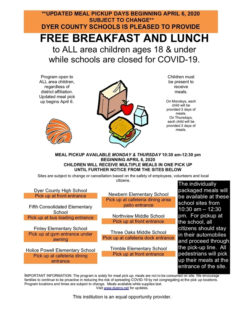 Meal plans have been updated beginning the week of April 6.  Pick ups will be on Monday and Thursday only from 10:30-12:30.  New academic packets will be given out on Mondays.