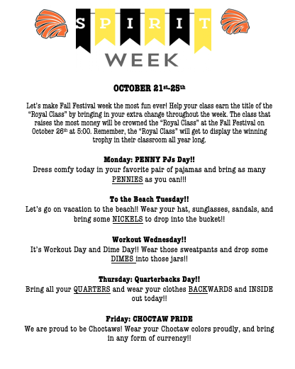 Spirit Week October 21-25