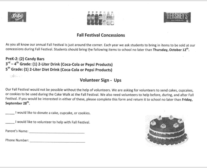 fall festival concessions and volunteers needed