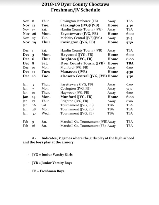 2018 JV/Freshman Basketball Schedule