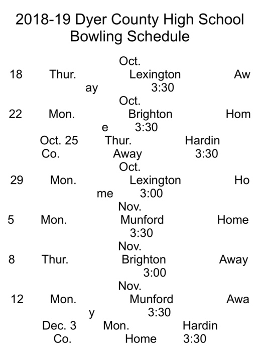 2018 DCHS Bowling Schedule
