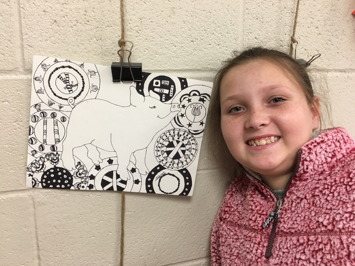 Student with Zentangle