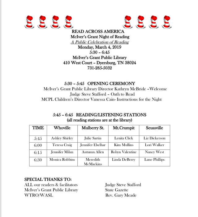 Read Across Town Schedule
