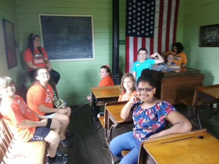 Students in a colonial classroom