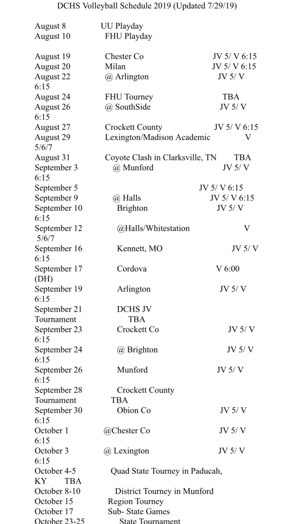 2019 DCHS VOLLEYBALL SCHEDULE