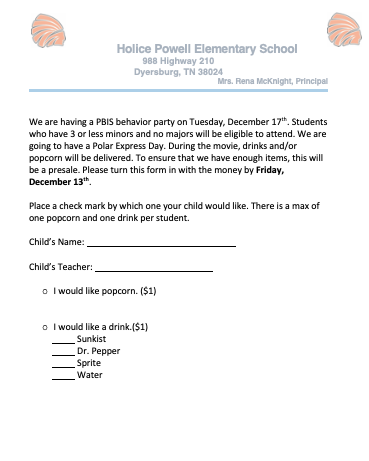 Polar Express Snack Order Form